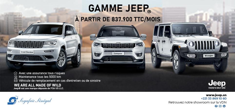 Sogafric – Gamme Jeep à partir de 837.900 TTC/mois